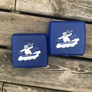 Set of 2 Tupperware Polar Bear Sandwich Keepers